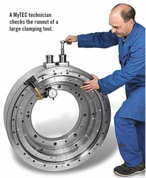 A MyTEC technician checks the runout of a large clamping tool.
